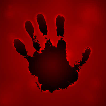 Hand paint print 3D, isolated red background. Black human palm and fingers. Abstract art design, symbol identity people. Silhouette child, kid, people handprint. Grunge texture. Vector illustration Illustration