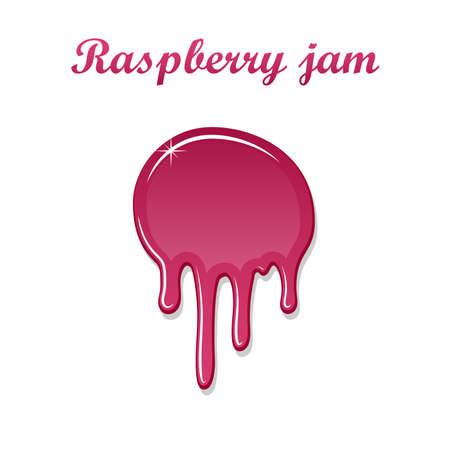 Raspberry drip jam 3D. Sweet raspberries splash isolated white background. Fruit strawberry candy splashing. Realistic syrup design Jelly flow dessert. Berry sauce dripping liquid. Vector illustration Illustration