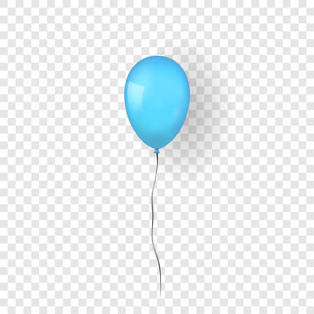 Blue balloon 3D, thread, isolated white transparent background. Color glossy flying baloon, ribbon for birthday celebrate, surprise. Helium ballon gift. Realistic design bday Vector illustration Vettoriali