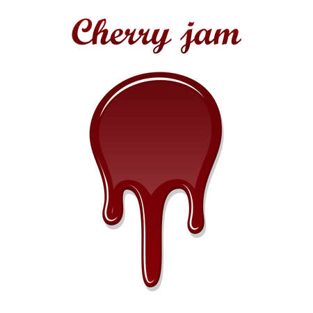 Red cherry drip confiture 3D. Berry sweet jam spot isolated white background. Drips flowing down stain. Drop realistic design. Syrup of strawberry melted sauce. Tomato splash Vector illustration