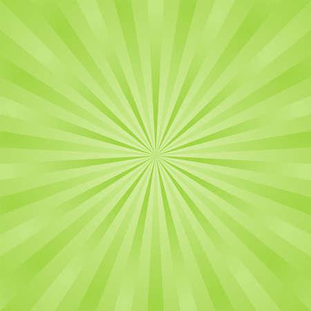 Green ray background. Vintage abstract texture. Retro starburst, sun beam. Halftone color. Light burst. Bright shine sunburst. Empty blank, scrapbook surface. Clean nature energy. Vector illustration