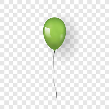 Green balloon 3D, thread, isolated white transparent background. Color glossy flying baloon, ribbon for birthday celebrate, surprise. Helium ballon gift. Realistic design bday Vector illustration Vettoriali