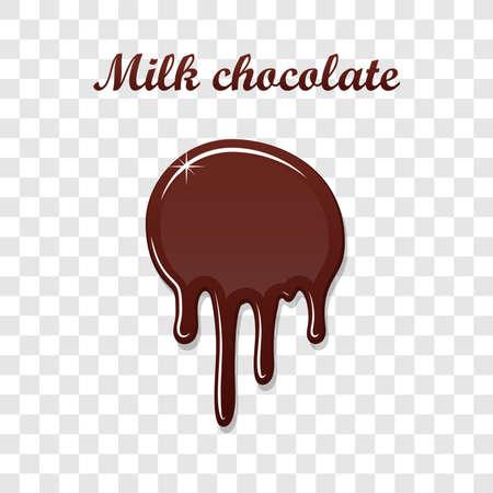 Chocolate drip splash. Liquid blot isolated white transparent background. Melt dessert spot. 3D realistic design stain element. Food decoration. Milk, dark chocolate splashing. Vector illustration Illustration