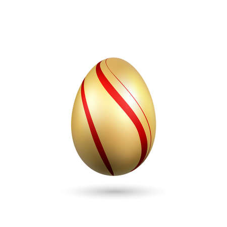 Easter egg 3D icon. Gold red egg isolated white background. Golden design template, decoration Happy Easter celebration. Holiday element. Shiny pattern. Traditional symbol spring. Vector illustration