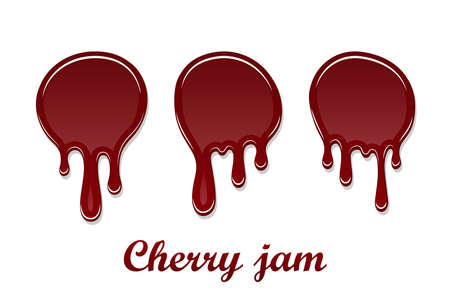 Red cherry drip confiture 3D set. Berry sweet jam spot isolated white background. Drips flowing down stain. Drop realistic design. Syrup of strawberry melted sauce. Tomato splash Vector illustration