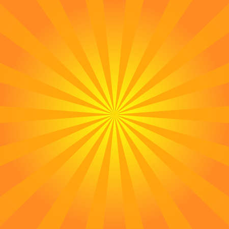 Sun rays background. Orange yellow radiate sun beam burst effect. Sunbeam light flash boom. Starburst poster. Sunlight star, sunrise glow burst. Solar radiance glare, retro design. Vector illustration