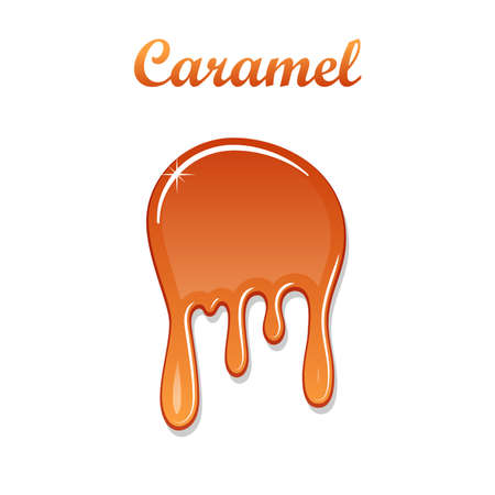 Caramel drop 3D. Realistic caramel, melted sauce. Flow liquid isolated on white background. Orange splash toffee candy. Delicious snack food. Sweet tasty cream. Melt smooth syrup. Vector illustration Illustration