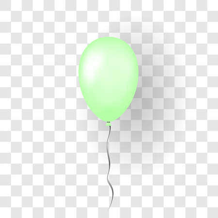 Green balloon 3D, thread, isolated white transparent background. Color glossy flying baloon, ribbon, birthday celebrate, surprise. Helium ballon gift. Realistic design happy bday Vector illustration