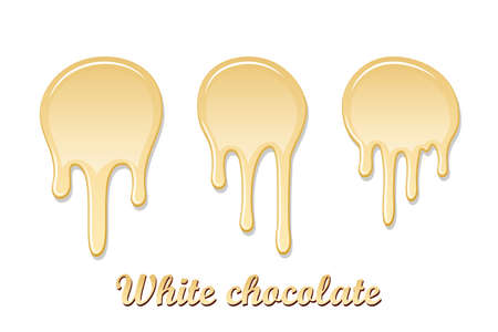 White chocolate drip splash set. Chocolate liquid blot isolated on background. Shape melt dessert spot. 3D realistic stain element. Food decoration. Milk, dark chocolate splashing. Vector illustration Illustration