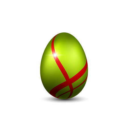 Easter egg 3D icon. Red green egg, isolated white background. Bright realistic design, decoration for Happy Easter celebration. Holiday element. Shiny pattern. Spring symbol. Vector illustration