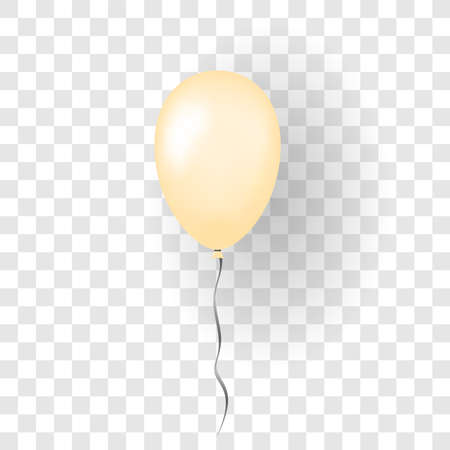 Orange balloon 3D, thread, isolated white transparent background. Color glossy flying baloon, ribbon for birthday celebrate, surprise. Helium ballon gift. Realistic design bday Vector illustration Vettoriali