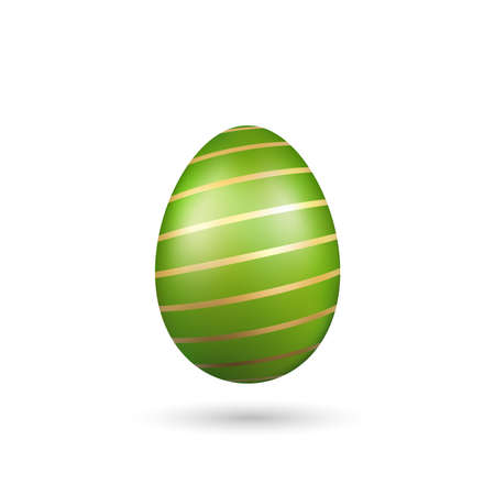 Easter egg 3D icon. Green gold egg, isolated white background. Bright realistic design, decoration for Happy Easter celebration. Holiday element. Shiny pattern. Spring symbol. Vector illustration