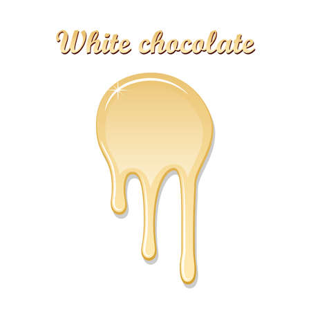 Chocolate drip splash. White chocolate liquid blot isolated white background. Shape melt dessert spot. 3D realistic design stain element. Food decoration. Chocolate splashing. Vector illustration Illustration