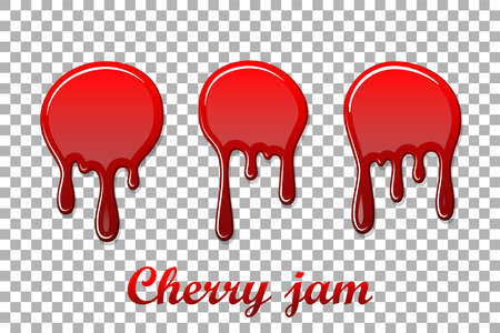 Red cherry drip confiture 3D set. Berry sweet jam spot isolated white transparent background. Drips flowing down stain. Drop realistic design. Syrup strawberry melted sauce splash. Vector illustration Vettoriali