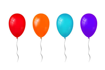 Balloons 3D bunch set, thread, isolated white background. Color glossy flying baloon, ribbon, birthday celebrate, surprise. Helium ballon gift. Realistic shape, symbol love, fun Vector illustration Illustration