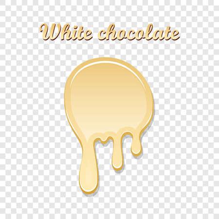 Chocolate drip splash. White chocolate liquid blot isolated white transparent background. Melt dessert spot. 3D realistic design stain element Food decoration. Chocolate splashing Vector illustration Illustration