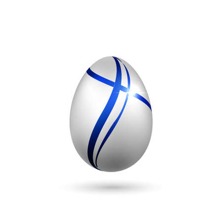 Easter egg 3D icon. Blue silver egg, isolated white background. Bright realistic design, decoration for Happy Easter celebration. Holiday element. Shiny pattern. Spring symbol. Vector illustration