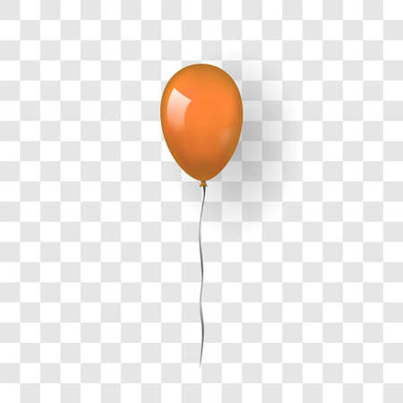Orange balloon 3D, thread, isolated white transparent background. Color glossy flying baloon, ribbon, birthday celebrate, surprise. Helium ballon gift. Realistic design happy bday Vector illustration