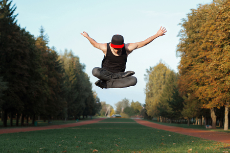 limbering: Young man jumped