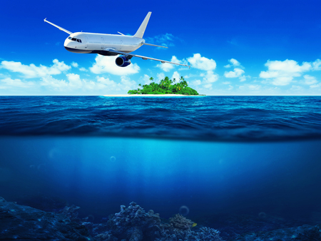 private airplane: Airplane flying above tropical sea with island. Underwater view.
