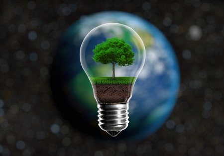 earth friendly: Green seedlings in a light bulb alternative energy concept, against a blurred background of planet Earth in space