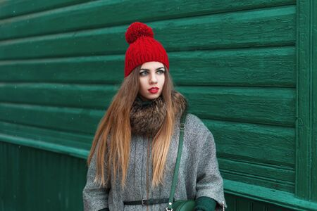 knit cap: Beautiful young girl in warm clothes and knit cap stands near a wooden house in the village