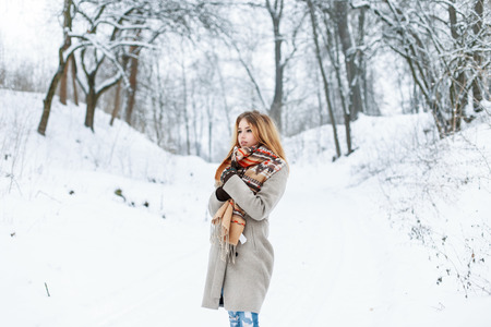 checkered scarf: Beautiful woman standing in a winter park near a tree in a stylish vintage clothing. Stock Photo