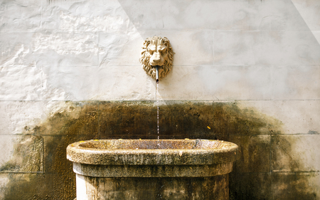 gush: Ancient fountain with lion head Stock Photo