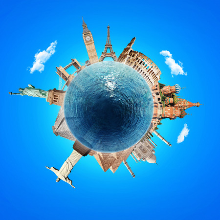 Concept of travel. Famous attractions on the planet. Blue planet with water.