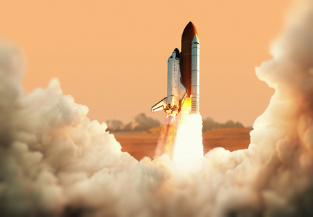 Spacecraft takes off into space. Rocket on the planet Mars