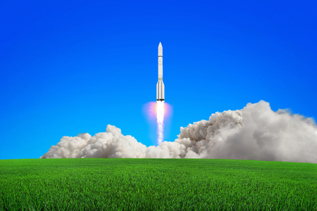 Rocket takes off into the sky.