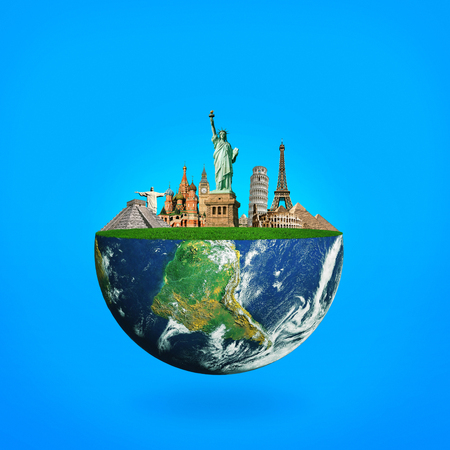 Blue planet Earth with landmarks. The concept of travel Stock Photo