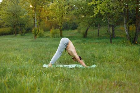 elasticidad: Joven haciendo yoga en el parque
