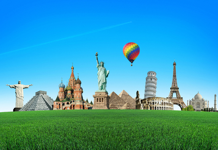 World Attractions with a colored balloon on a green field with grass. The concept of travel and vocation. Trip. Wonders of the world. Around The World Tours