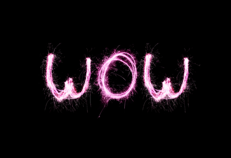 Pink letters sparklers Wow. The word Wow of the Bengal lights Stock fotó