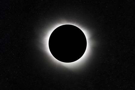 Moon eclipse. Planet with a glow. Star Field Standard-Bild