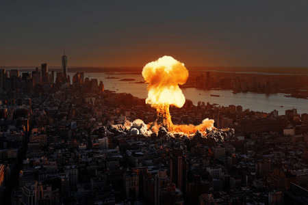 Nuclear explosion in the city. Stock Photo