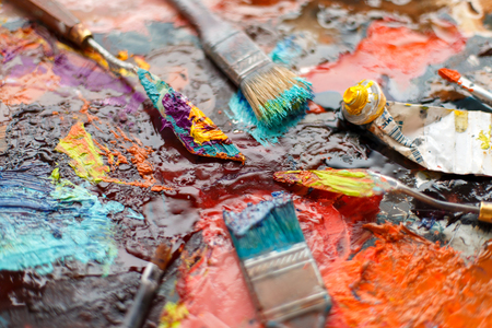 Bright abstract background with tassels and brushes. Artist Set Stok Fotoğraf