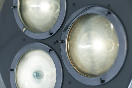 Bright light from a modern operating lamp. Medical equipment. Close-up.