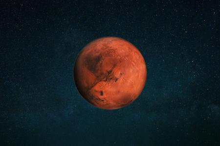 Planet Mars am Sternenhimmel. Roter Planet im Weltraum