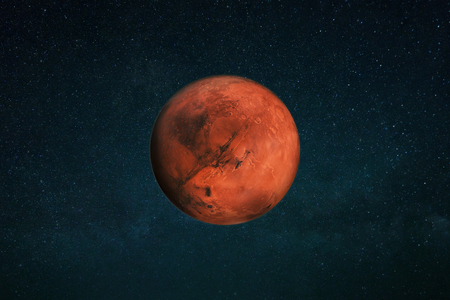 Planet Mars in the starry sky. Red planet in space 스톡 콘텐츠