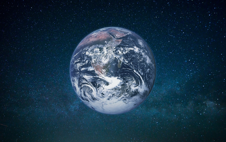 Planet Earth in open space on a galaxy background