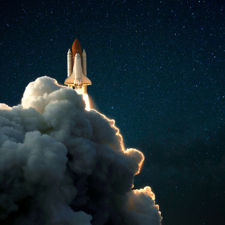 Space rocket shuttle takes off into the starry sky, Spaceship explores space