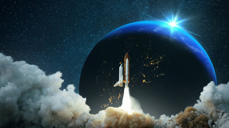 Spacecraft takes off into space. Starry sky and planet Earth with sunset. Space mission. Travels. Rocket flies to the stars.