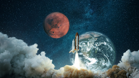 Spacecraft takes off into the starry sky with the planet Earth and the planet Mars. Rocket flies to the planet. Concept of interplanetary travel. Space