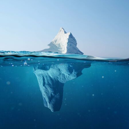 Beautiful iceberg in the ocean with a view under water. Global warming concept. Melting glacier Stockfoto