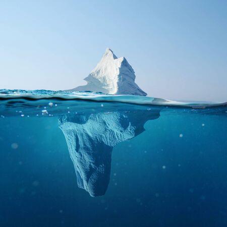 Bel iceberg dans l'océan avec vue sous l'eau. Concept de réchauffement climatique. La fonte des glaciers Banque d'images