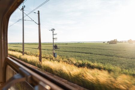 The view from the train window overlooking the blue sunny sky and the green field. Sunset Imagens