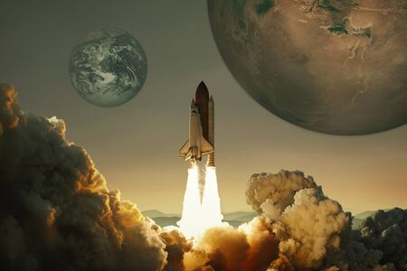 Spacecraft takes off into the sky with the planet Earth and the planet Mars. Rocket flies to the planet. Concept of interplanetary travel. Space mission
