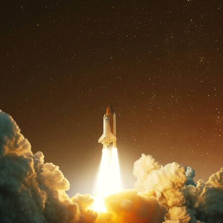 Spacecraft takes off into space on the planet Mars. Journey to the red planet. Rocket takes off